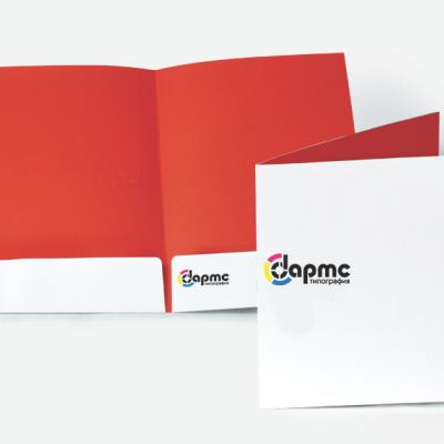 Папки картонные с логотипом с полноцветной печатью